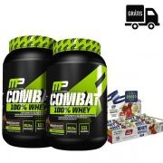 2x Combat 100% Whey (1,8Kg Total) - Muscle Pharm + Whey Grego Bar Caixa 12 Unidades - Nutrata