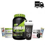 Combat 900g + Creatina 150g + Glutamina 300g + 2x Grego Bar