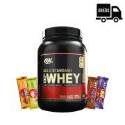 KIT: Whey Gold Standard 909g + 4x Uau! Protein Bar + Frete Grátis
