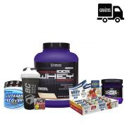 KIT: 100% PROSTAR Whey + Horse Power 225g + Glutamine 300g + Whey Grego Bar 12 Uni + Brindes