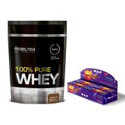 KIT: 100% Pure Whey 825g + Uau! Protein Bar 12 Uni.