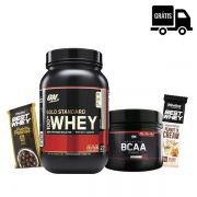 KIT: 100% Whey Gold 900g + BCAA BLACK LINE 300g + Brindes