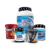 KIT: Bio Whey 900g + Brigadeiro Proteico 500g + Glutamina 300g + Creatina 150g + BCAA 300g