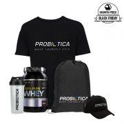 KIT BLACK FRIDAY: 100% Pure Whey 900g + Camisa + Boné + Coqueteleira + Mochila - PROBIOTICA
