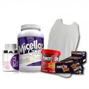 KIT: Caseina Micellar 907g + Camiseta Probiótica + Pasta de Brigadeiro + Caixa de Paçoca + BCAA 2400