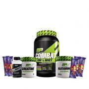 KIT: Combat 100% Whey 907g + Creatine 300g + Glutamine 300g + VITADAPT 60 Caps. + 5x Uau!