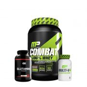 KIT: COMBAT 100% WHEY 907G + MULTI-V+ 60 CAPS. + GLUTAMINA 300G (BLACK LINE)