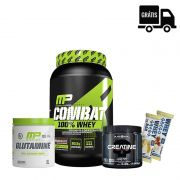 KIT: Combat 900g + Creatina 150g + Glutamina 300g + 2x Grego Bar