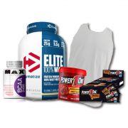KIT: Elite 100% Whey 5lbs + Camiseta Probiótica + Pasta de Brigadeiro + Caixa de Paçoca + BCAA 2400
