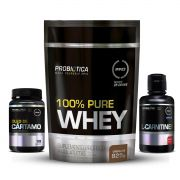 KIT EMAGRECIMENTO: 100% Puree Whey 825g + Óleo de Cártamo 120 Caps. + L-Carnitine 2000mg 400ml