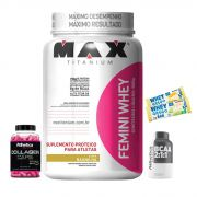 KIT: Femini Whey 900g + Ella Collagen 120 Caps. + BCAA 2:1:1 60 Caps. + 2x Whey Grego Bar