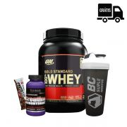 KIT: Gold Standard 900g + Creatina Ultimate 300g + Coqueteleira + Protobar