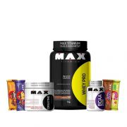 KIT MAX TITANIUM: Whey Pro 1Kg + BCAA 2400 60 Caps. + Creatine 100g + 4x Uau! Bar