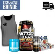 KIT: NitroTech 100% Whey Gold 1,02Kg + Creature 300g + BCAA Platinum 60 Caps. + 12x Grego Bar + Brinde