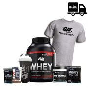 KIT: On Whey 2kg Black Line + Pre-Workout 300g + Camisa Optimum + Coqueteleira + 3 Brindes