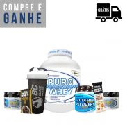 KIT: Puro Whey 2kg + Glutamina 300g + 2x Creapto Performance 150g (300g total) + Brindes