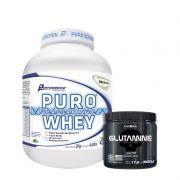 Kit: Puro Whey 2kg + Glutamine 500g (Caveira Preta)