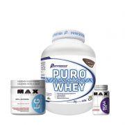 KIT: Puro Whey 2Kg + L-Glutamine 300g + BCAA 2400 60 Caps.