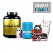KIT: Syntha Gold 5lbs + Creature 300g + BCAA 2400 60 Caps. + 12 Uni. VO2 Bar + Camiseta Probiotica