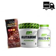 KIT: Glutamine 300g + Multi V+ 60 Caps + Wafer Protein Mini