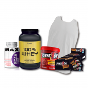 KIT: Whey Protein 100% 908g + Camiseta Probiótica + Pasta de Brigadeiro + Caixa de Paçoca + BCAA 2400