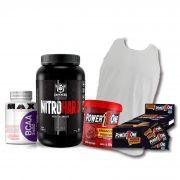 KIT: NitroHard Darkness 907g + Camiseta Probiótica + Pasta de Brigadeiro + Caixa de Paçoca + BCAA 2400