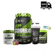 SUPER KIT: Combat Whey 900g + Glutamina 300g + Assault 300g + Brindes