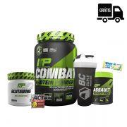 SUPER KIT: Combat Whey 900g + Glutamina 300g + Assault 300g + Brindes