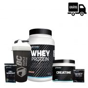 FIT FAST:  Whey Protein 900g + Creatina 300g + Sachês + Coqueteleira