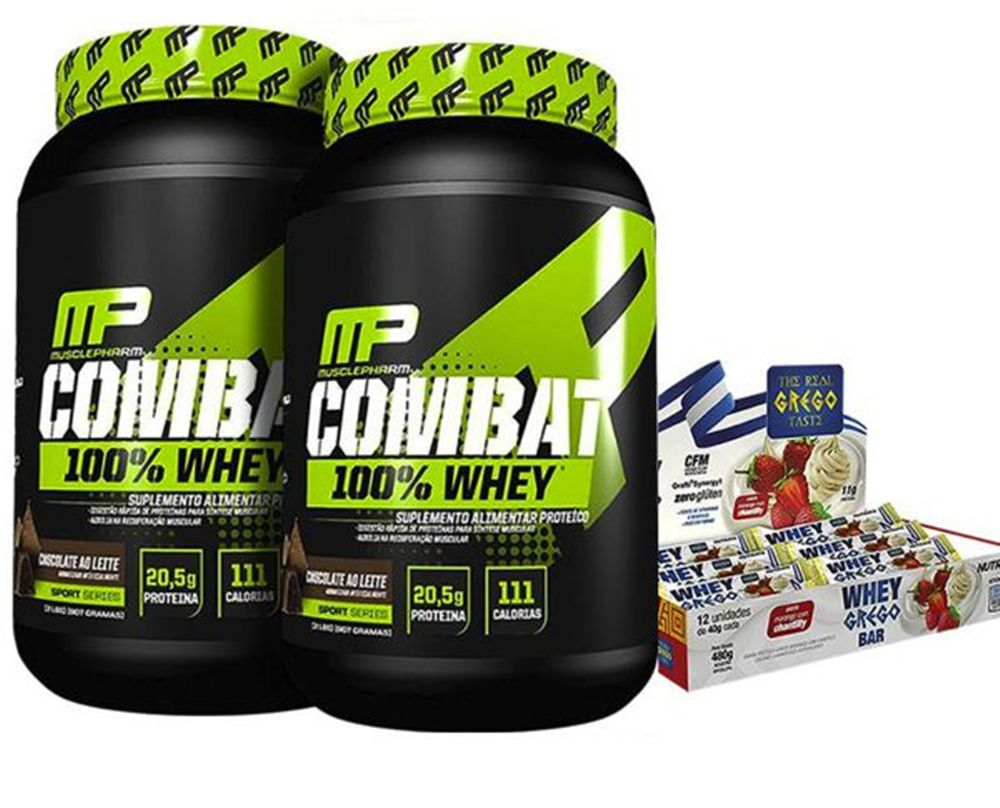 2x Combat 100% Whey (1,8Kg Total) - Muscle Pharm + Whey Grego Bar Caixa 12 Uni.