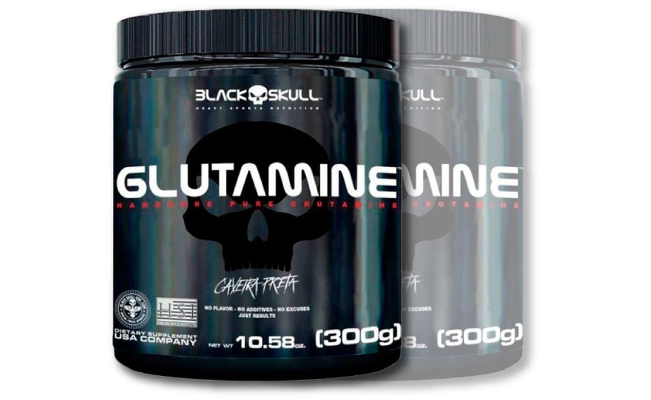 2x Glutamine 300g (Caveira Preta) - Black Skull