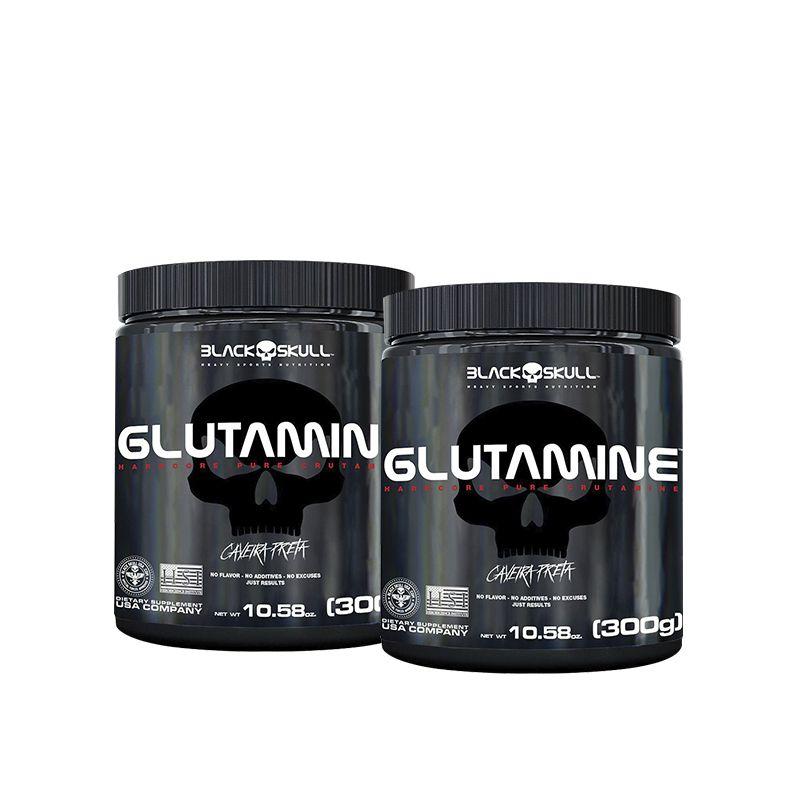 2x Glutamine 300g (Caveira Preta) – Black Skull