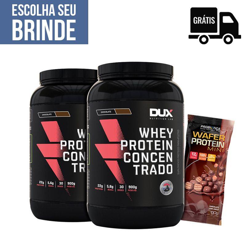 2x Whey Protein Concentrado 900g + Wafer Protein Mini