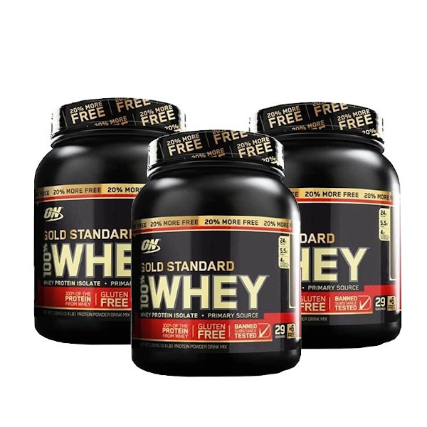 3x 100% Whey Gold Standard 2.4lbs (1,09kg) - Optimum Nutrition