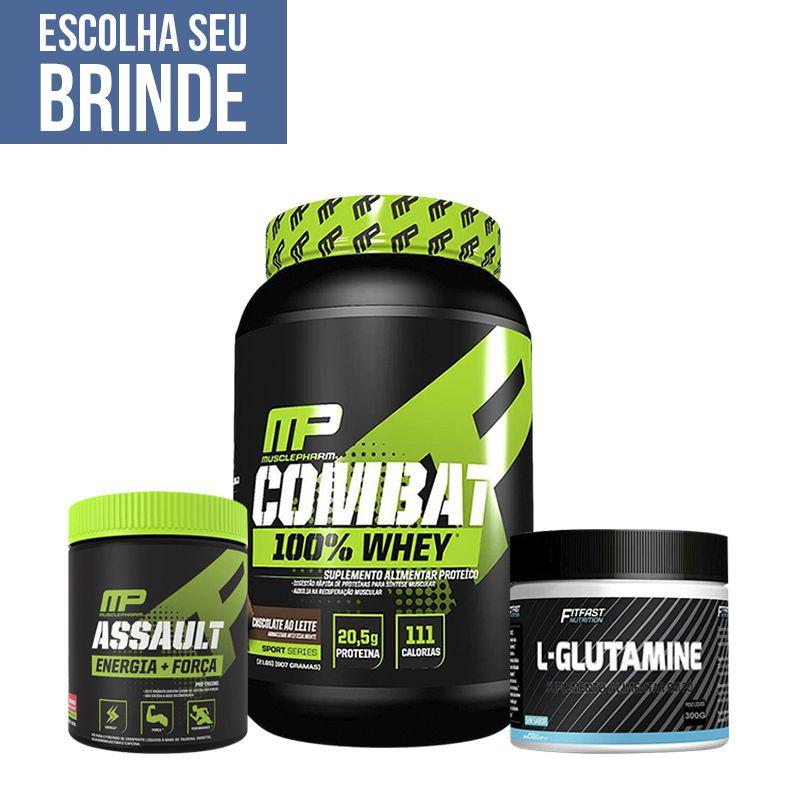 Combat 900g + Assault 300g + Glutamina 300g + Brindes