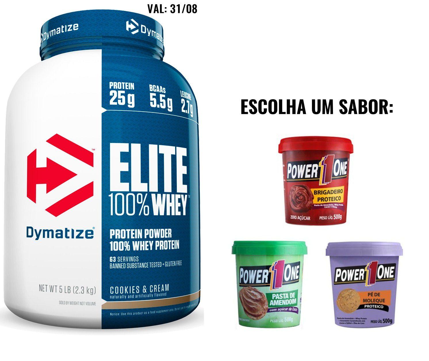Elite 100% Whey 5lbs (2270g) - Dymatize - (Val: 31/12) + 1x Pasta Proteica 500g - PowerOne