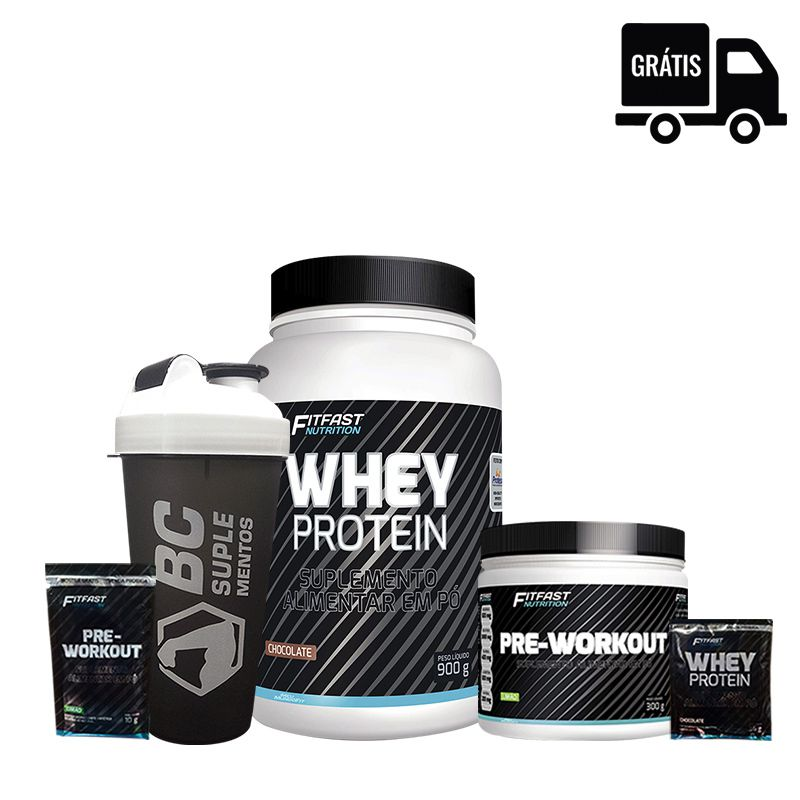 FIT FAST:  Whey Protein 900g + Pre-Workout 300g + Sachês + Coqueteleira