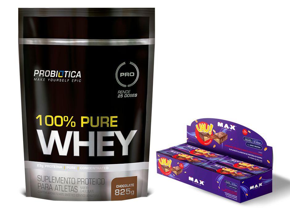 KIT: 100% Pure Whey 825g + Uau! Protein Bar 12 Uni.