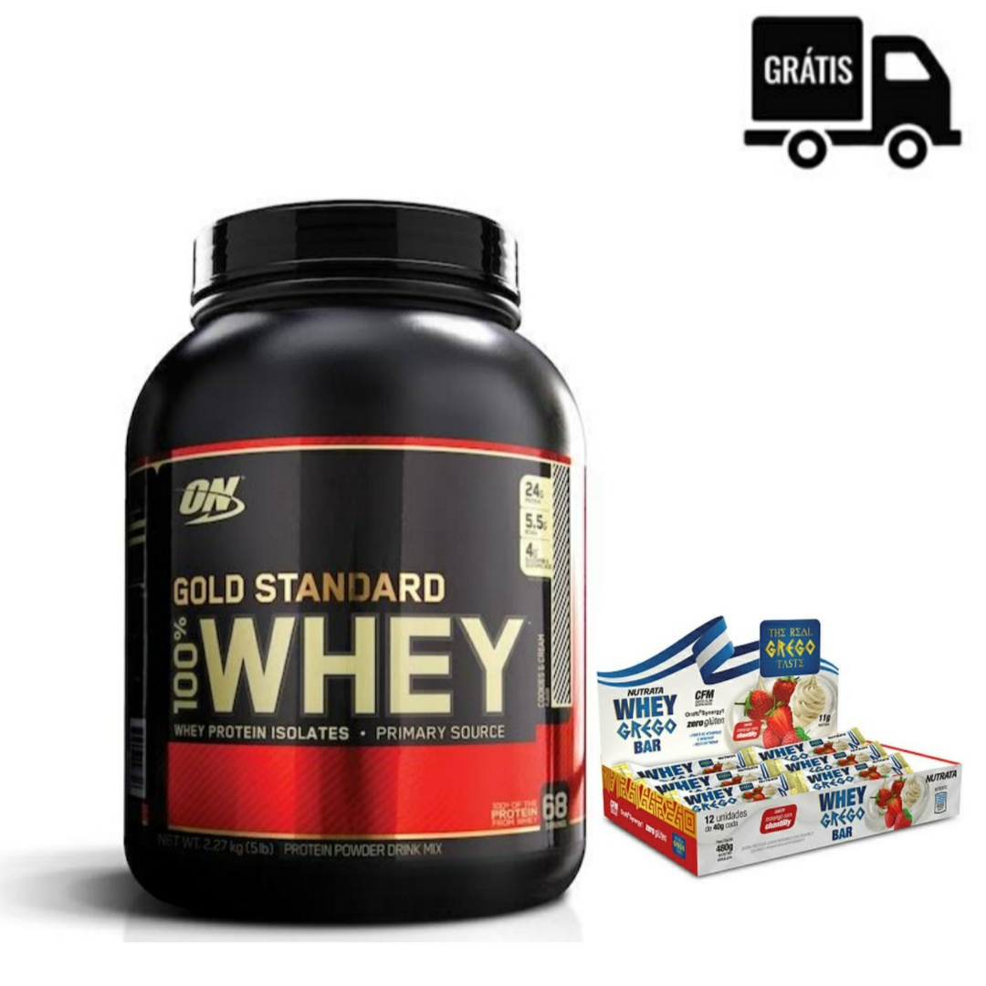 KIT: 100% Whey Gold Standard 5lbs + Whey Grego Bar 12 Uni.