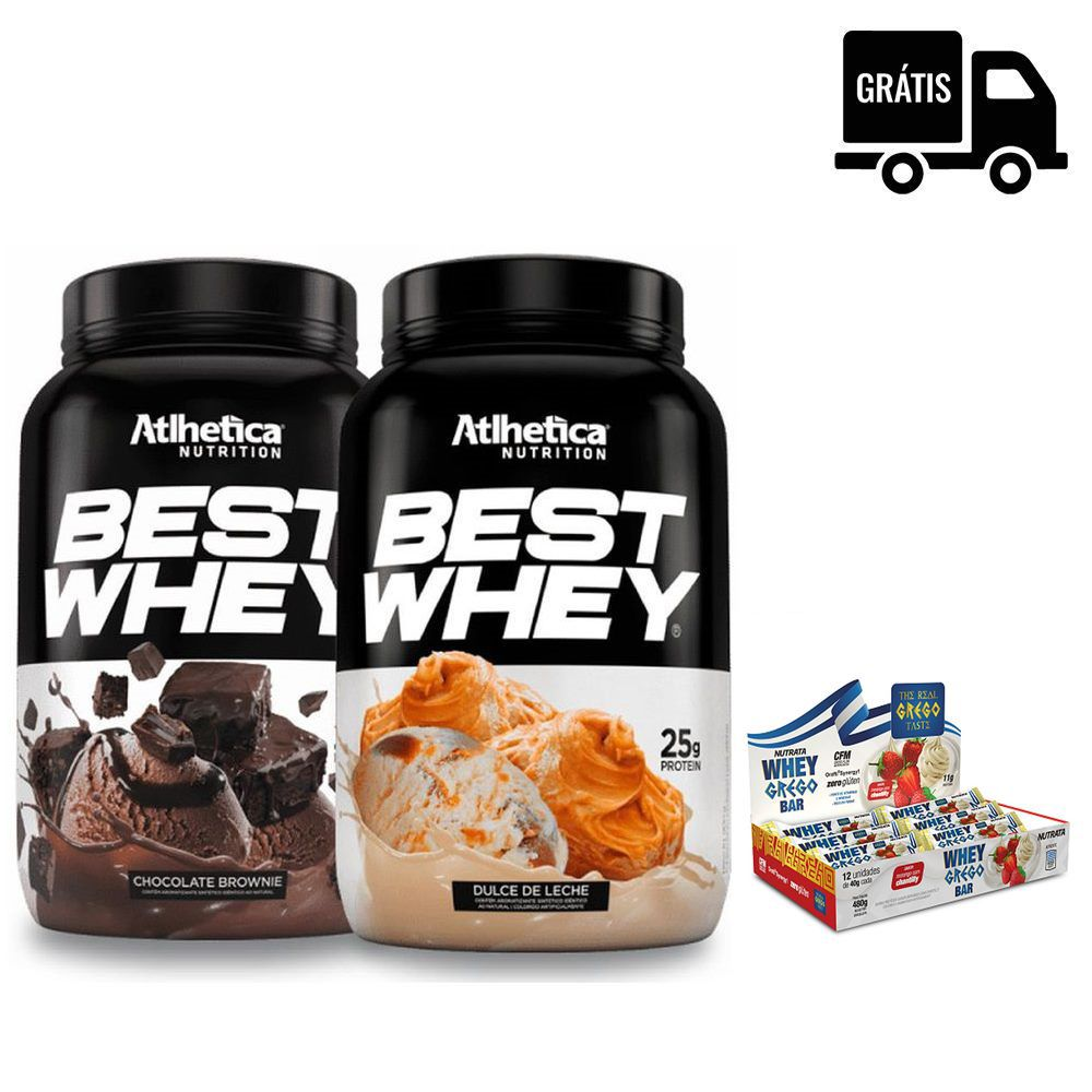 KIT: 2x Best Whey 900g + Whey Grego Bar 12 Uni.