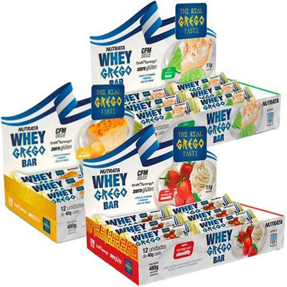 3x Whey Grego Bar Caixa (36 Unidades)