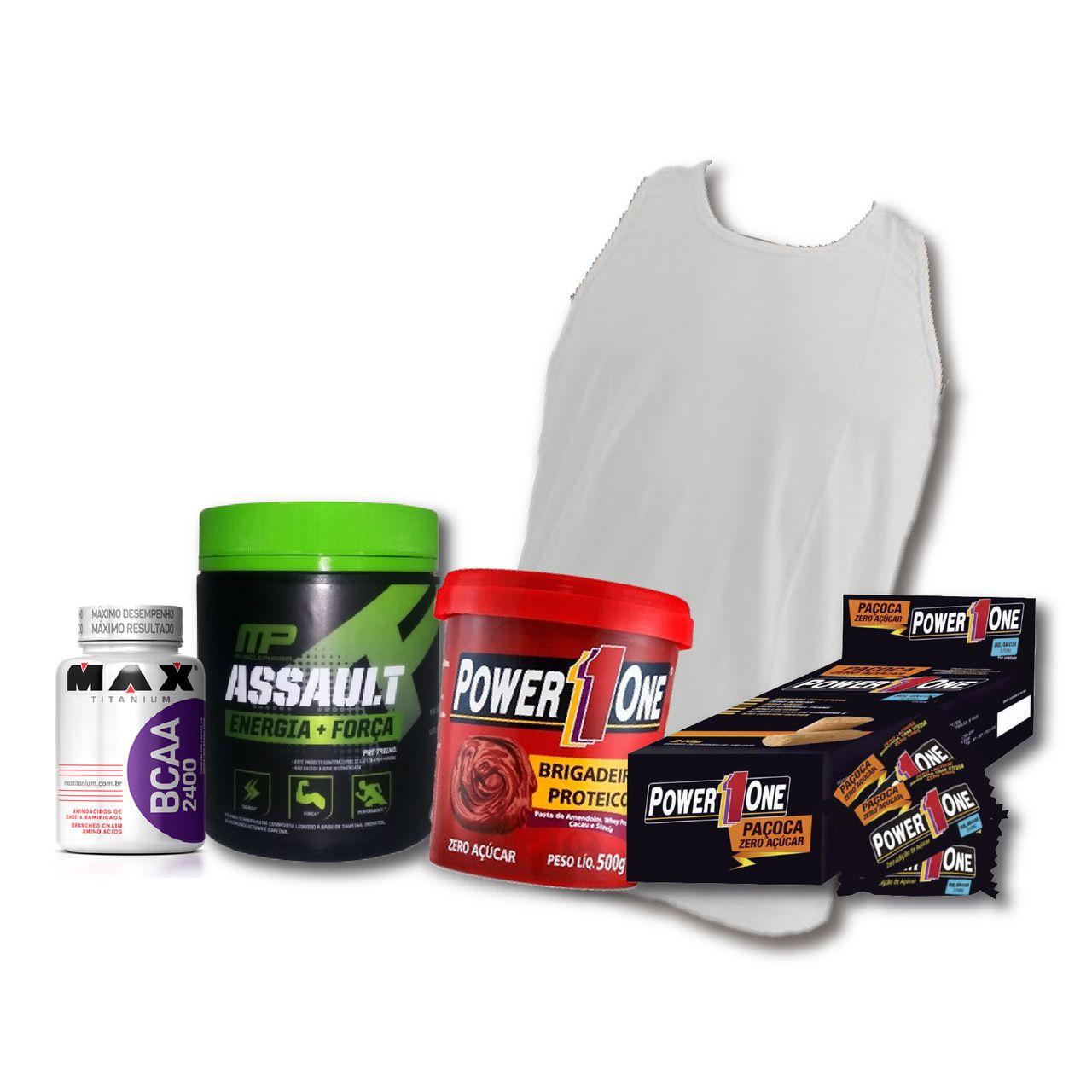 KIT: Assault (60 Doses) + Camiseta Probiótica + Pasta de Brigadeiro + Caixa de Paçoca + BCAA 2400