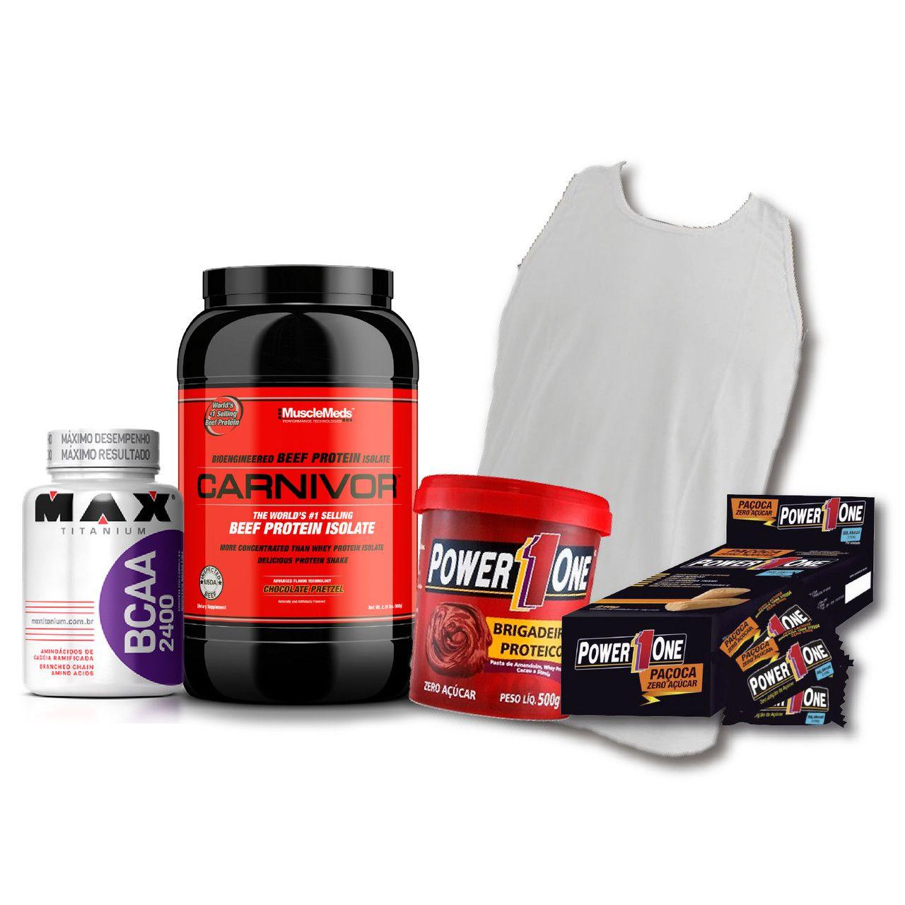 KIT: Carnivor Beef Protein 900g + Camiseta Probiótica + Pasta de Brigadeiro + Caixa de Paçoca + BCAA 2400