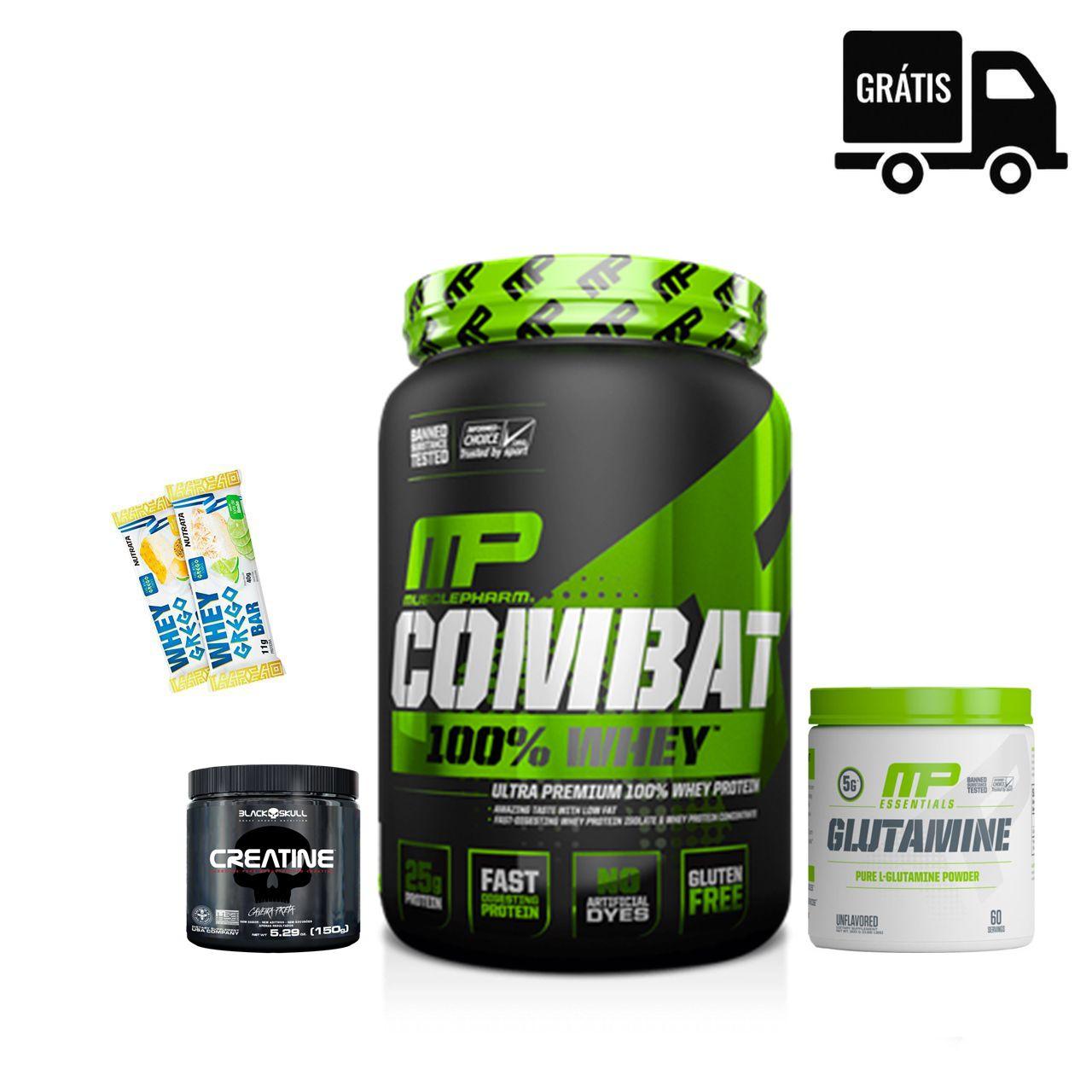 KIT: Combat 900g + Creatina 150g + Glutamina 300g + 2x Grego Bar