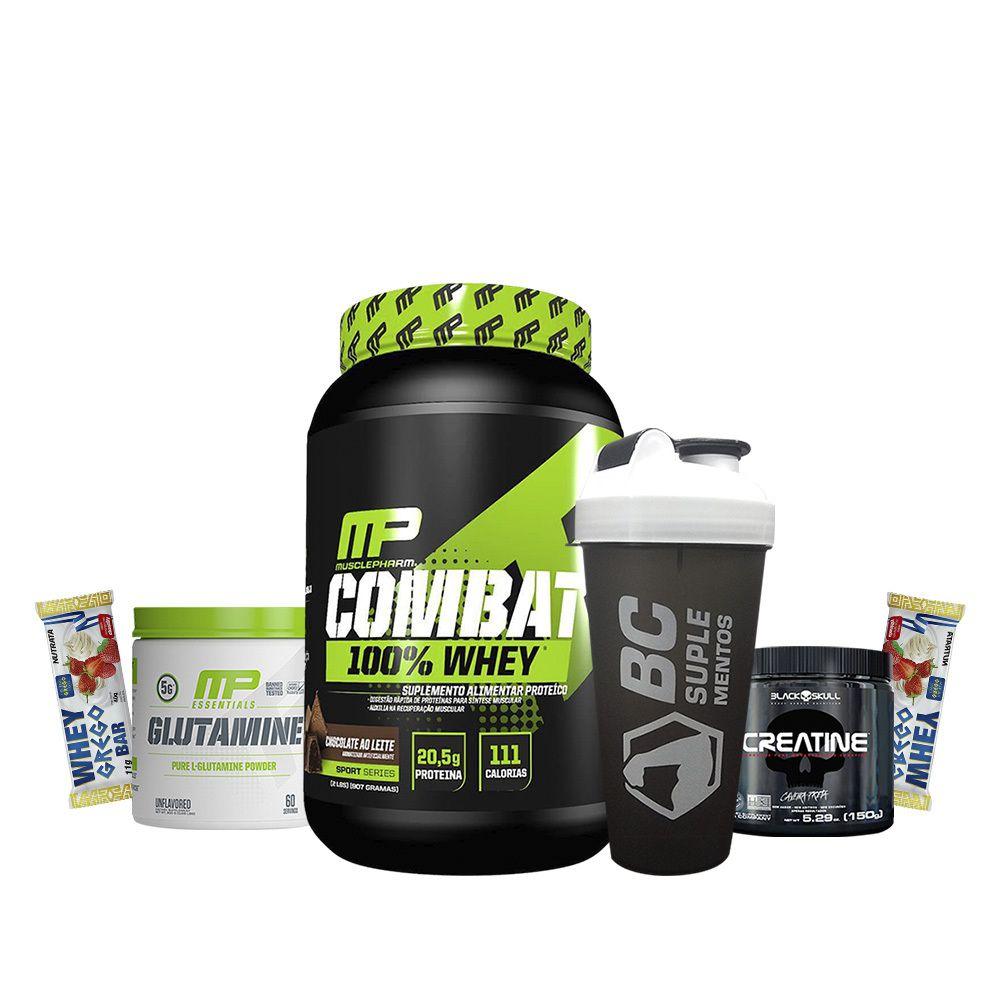 KIT: Combat 900g + Creatina 150g + Glutamina 300g + 2x Grego Bar + Coqueteleira