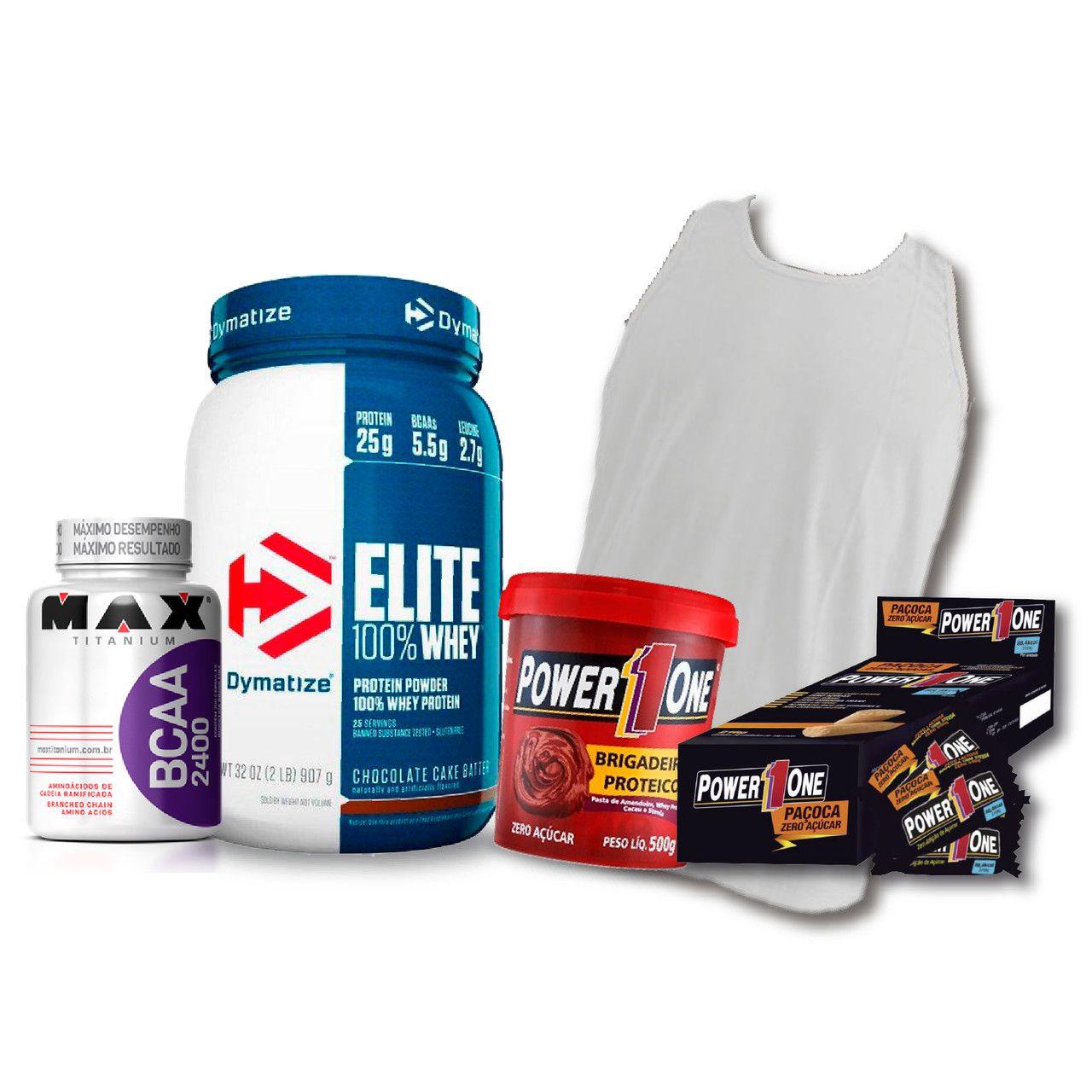 KIT: Elite 100% Whey 2lbs + Camiseta Probiótica + Pasta de Brigadeiro + Caixa de Paçoca + BCAA 2400