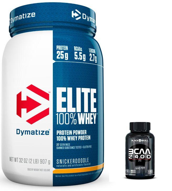 KIT: Elite 100% Whey 900g + BCAA 2400 100 Caps.