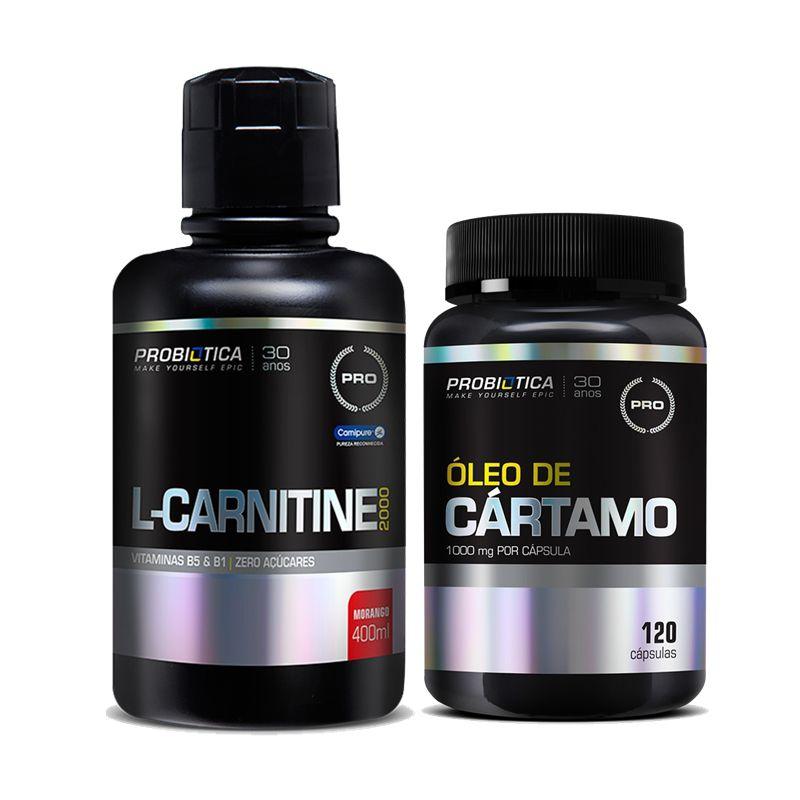 KIT EMAGRECIMENTO: Óleo de Cártamo 120 Caps. + L-Carnitine 2000mg 400ml