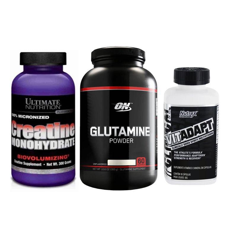 KIT: Glutamina Black Line 300g + VITADAPT 60 Caps. + Creatine Monohydrate 300g