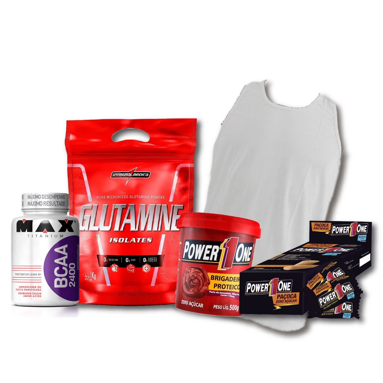 KIT: Glutamine Isolates 1kg + Camiseta Probiótica + Pasta de Brigadeiro + Caixa de Paçoca + BCAA 2400